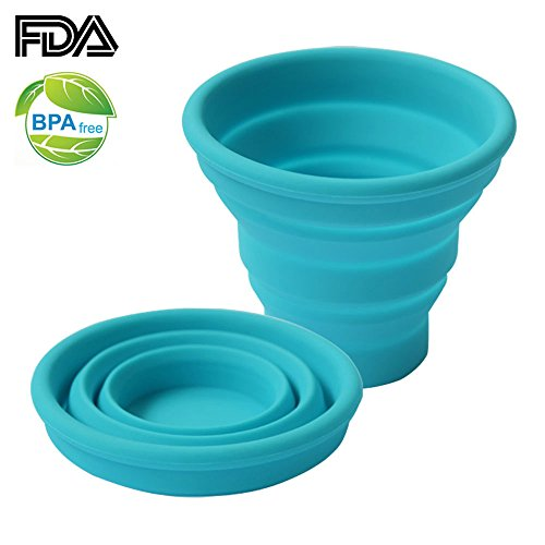 Ecoart Silicone Collapsible Travel Cup for Outdoor Camping and Hiking, Blue (1 Pack)