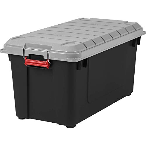 (IRIS USA, Inc. Remington 82 Quart WEATHERTIGHT Storage Box, Store-It-All Utility Tote, (Gray/Black) + Free Furniture Dust Cloth)