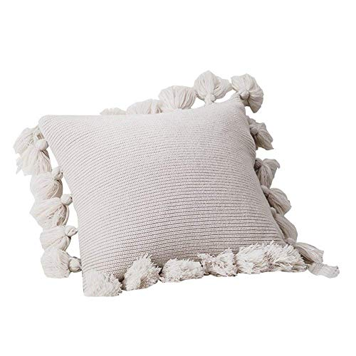 Pom Knit Accent Pom - TEALP Pillow Covers Decorative Knitted Throw Pillows Covers 18x18 with Pom Pom Lantern Tassels