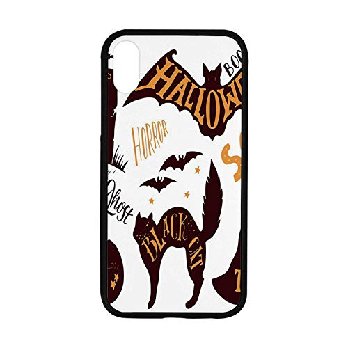 Vintage Halloween Rubber Phone Case,Halloween Symbols Trick or Treat Bat Tombstone Ghost Candy Scary Decorative Compatible with iPhone XR