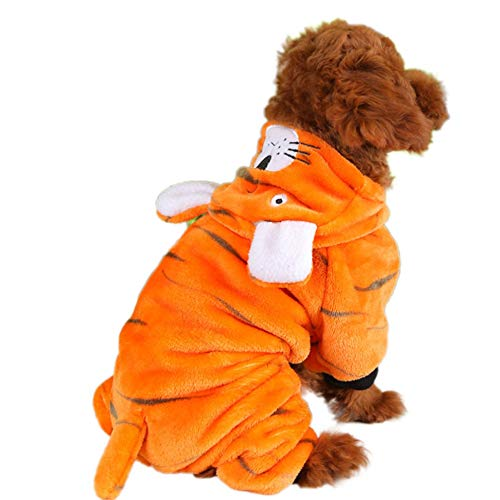 Adarl Winter Warm Pet Dress Up Costumes Dog Jumpsuit Coat Colothes Soft Fleece Hoodies Tiger Apparel for Puppy Dog Cat Orange/XS ()