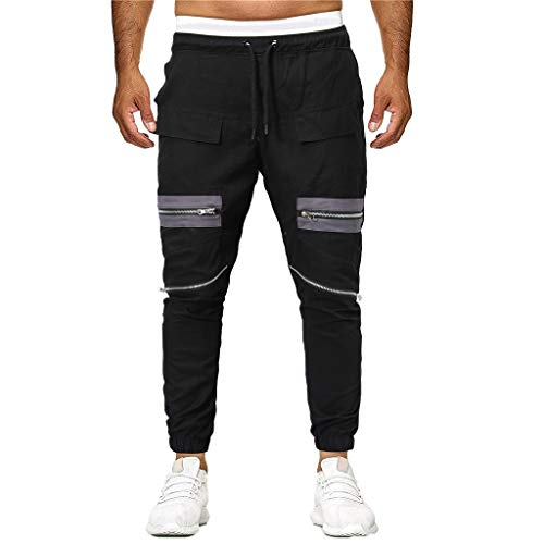 (Benficial Fashion Men's Sport Joint Lashing Pocket Patchwork Loose Sweatpants Drawstring Pants Black)