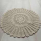 Package of 12 Hand Crocheted Round Ecru Doilies - 100% Cotton- 12'' Round Diam.