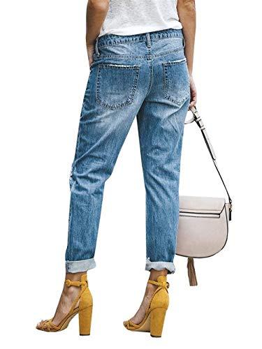 Elástico Blau De Fit Pantalones Slim Casuales Ropa Bolsillo 2 Vaqueros Del Algodón Lápiz Adelina Dril Apenado Mezclilla Delgado qvRIaw