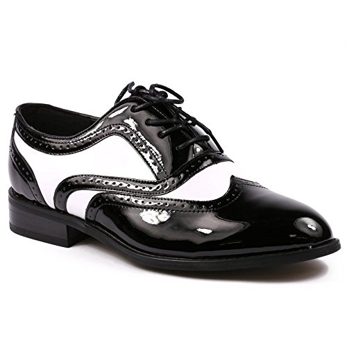 Miko Lotti TPCK01103 Men's Black White Patent Perforated Wing Tip Lace Up Oxford Dress Shoes (12)