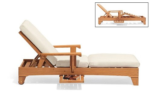New Grade A Teak Multi Position knee Fold Sun Chaise Lounger Steamer with Tray - Furniture only -- Caranas Collection (Teak Multi Position Chaise Lounger)