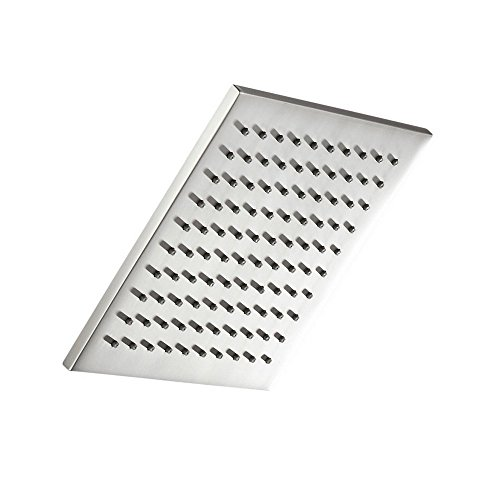 (100% METAL Rain Shower Head Square 8 Inch Rainfall Showerhead with 2.5 GPM High Pressure Water Flow   Large Luxury Rainshower for Wall Mount, Overhead, or Ceiling Mounted Waterfall   Brushed Nickel)