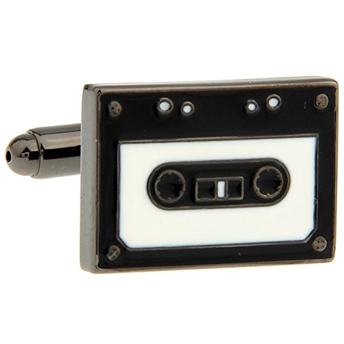 (Medieval Rectangular Tape Recorder White and Black Color Paint Color Black Gun Plated Cufflinks)