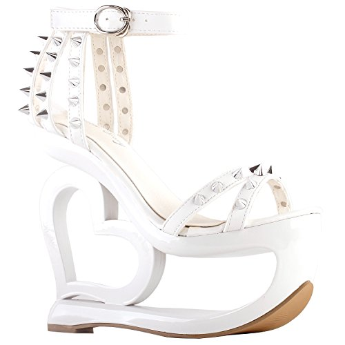 Wedge Heel Heart Evening LF40204 Show Strappy White Punk Story Spikes Sandals Black q7aOw