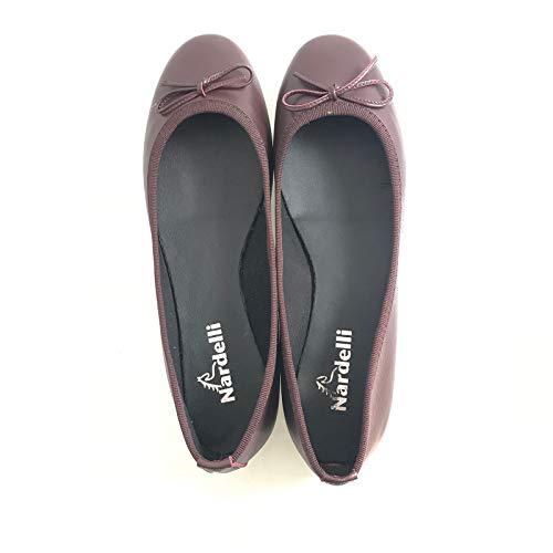 Modello In Pelle Per Finto Occasione Minima Sottopiede Ballerina Tacco Bordeaux Laccio Ogni Con Comoda Altezza Scarpa dxqfzd
