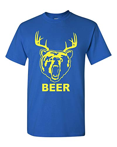 - New Beer Deer Bear Sunny Mac Funny TV Adult T-Shirt Tee (X Large, Royal Blue w/Yellow)