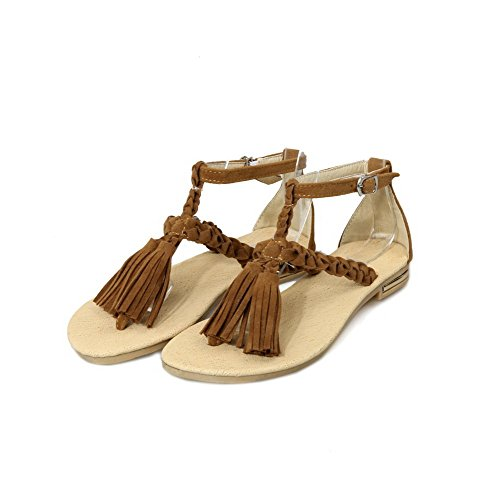 Split No Sandals WeenFashion Flip Solid Heel Women's Toe Brown Buckle Frosted Flop twqpxqX