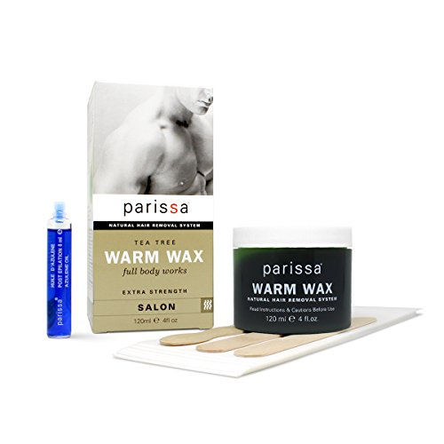 Parissa Men's Warm Wax, Body Waxing Kit for Hair Removal, Wax with Tea Tree, 20 Strips, 3 Spatulas, Aftercare Oil, 120 mL, 4 oz. ()