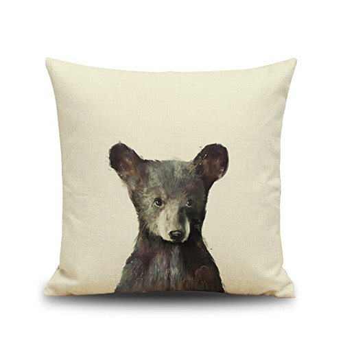 Crazy Cart Little Bear Cotton Linen Decorative Throw Pillow Case Cushion Cover Square 18