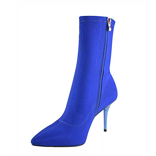 vivianly Stretch Pointed Toe Sock Booties Mid-Calf Ankle Boot Stiletto Heel Boots for Women Blue