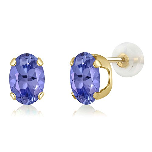 Tanzanite Gold 14k Oval Ring - Gem Stone King 1.50 Ct Oval 7x5mm Blue Tanzanite 14K Yellow Gold Stud Earrings
