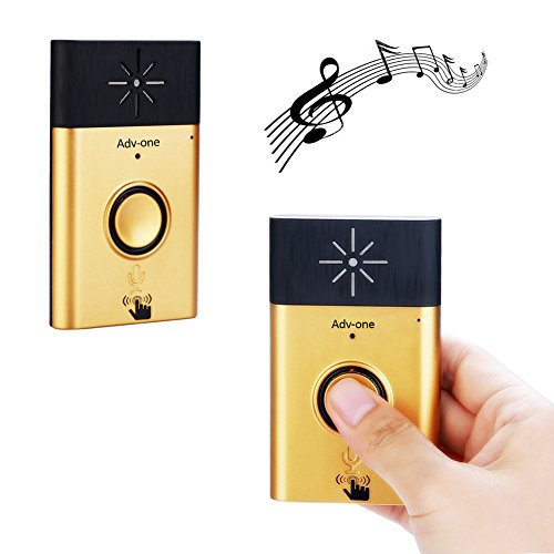 - Wireless Voice Intercom Doorbell, Adv-one Portable Door Bell Chimes with 1 Push Button Transmitter and 1 Receiver, Battery Operated Over 600 feet Range Doorbell Kits (Gold)