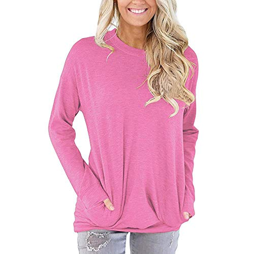 HGWXX7 Women Tops Long Sleeve Casual Cotton Solid T-Shirt Blouses With Pockets(S,Pink) (Torso Trim Bra)