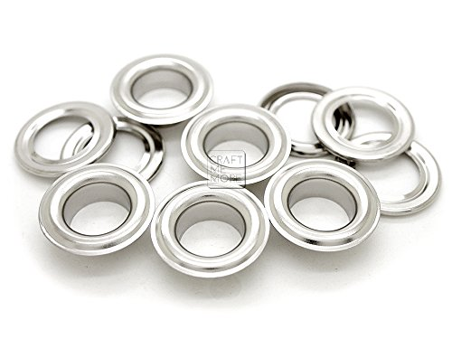 CRAFTMEmore 1 inch Hole 10 Sets Grommets Eyelets with Washers for Leather, Tarp, Canvas (Silver)