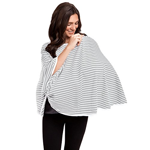 360° FULL COVERAGE Nursing Cover for Breastfeeding - Luxurious, Soft Breathable Cotton in Poncho Style (Gray Stripe) by EN Babies (Image #2)