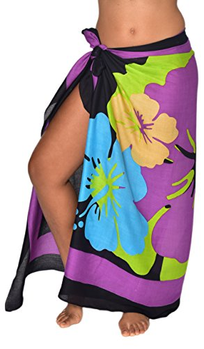 Casual Movements Women's Brazillian Hibiscus Swimsuit Coverup Purple/Lime70