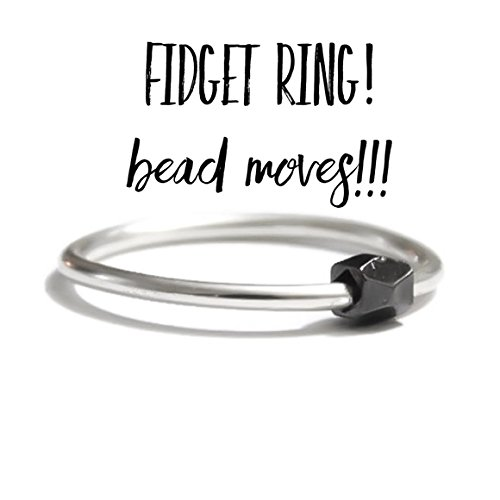 Fine Sterling Silver Worry Ring Fidget anxiety Ring Faceted Gunmetal Bead Slider Sizes 2 3 4 5 6 7 8 9 10 11 12 13
