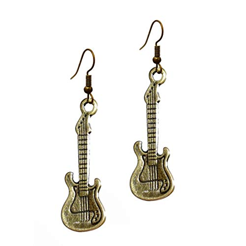 """Stay Clam Harmony Music Jewelry - Antique Bronze""""Electric Guitar"""" R&B Rock Bass Steampunk Instruments Pendant with Easy Fishhook Earrings (earring2015)"""