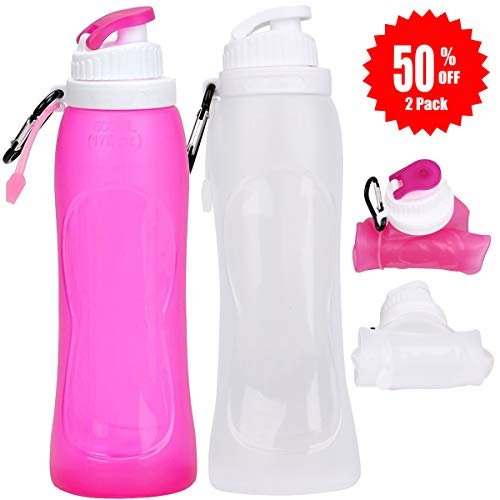 CASAPRO Collapsible Water Bottle - 17oz Silicone Sports Water Bottle for Traveling, Rollable and Foldable with Aluminum Carabiner (2 Pack, Pink and White)