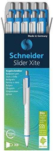 Schneider Slider Xite Retractable Ballpoint, White Barrel w/Blue Accents, Box of 10 Schneider Top Ball