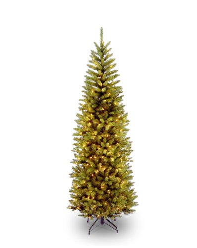 National Tree 6.5 Foot Kingswood Fir Pencil Tree with 250 Clear Lights, Hinged (KW7-300-65) (Christmas Pencil Black Slim Tree)