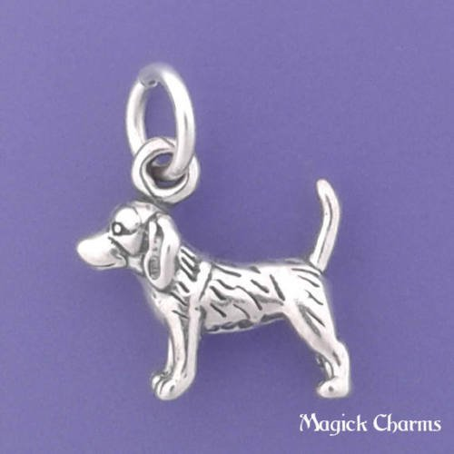 Sterling 3d Dog Charm Silver - Sterling Silver 3-D Beagle Dog Miniature Charm Pendant