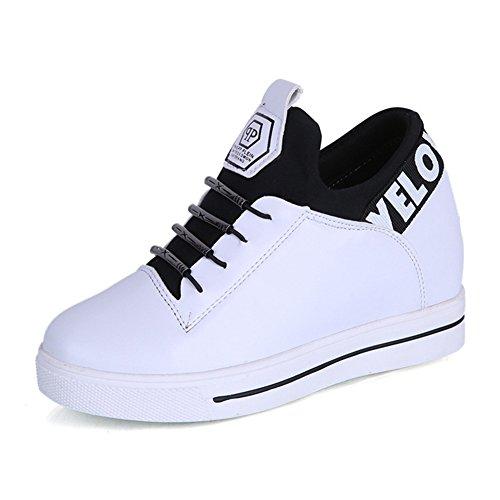 Btrada Femmes Occasionnels Lacets Sneaker Chaussures Fond Plat Épais Talon Cachés Mocassins Chaussures Blanc