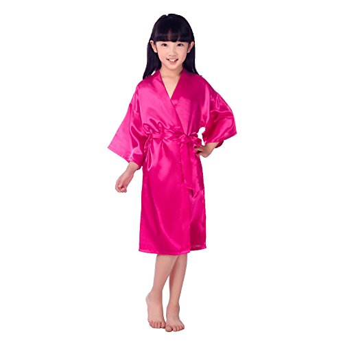 Children's Silk Stain Pure Kimono Wedding Dressing Gown Kimono Robes Bridal Lingerie Sleepwear (12, -
