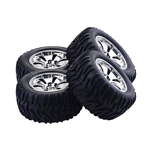 Titanicol 4PCS RC Car Wheel Rim Tire for HSP Wltoys ZD Racing HPI 1/10 Monster Truck Silver