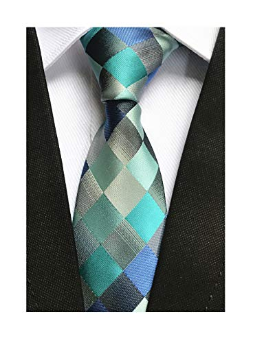 Indigo Teal Blue Grey Silk Ties Handsome Handmade Casual Necktie for Mens Youth