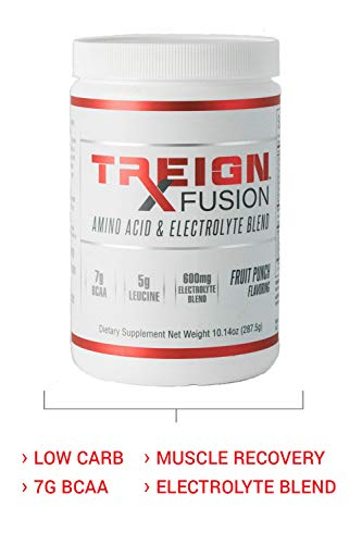 TREIGN Fusion BCAA & Electrolyte Post Workout Recovery – 7 BCAA Grams, 25 Servings, Caffeine Free Energy Blend, Only 3g of Carbs, Hydrate Your Body and Increase Blood Flow to Working Muscles