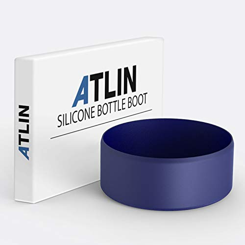 Atlin Silicone Sleeve [Large], Protective Bottle Rubber Bottom Compatible with Hydro Flask, Durable Anti-Slip Boot Cover for Stainless Steel Water Cup, Portable Pet Bowl [Dishwasher Safe] Cobalt