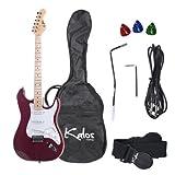 Kalos 39-Inch Electric Guitar Pack, Full Size, Metallic Purple - 1EG-MP