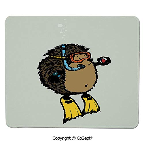 Gaming Mouse Pad,Cartoon Scuba Diver Hedgehog Cute Illustration for Kids Funny Sea Life,Dual Use Mouse pad for Office/Home (15.74