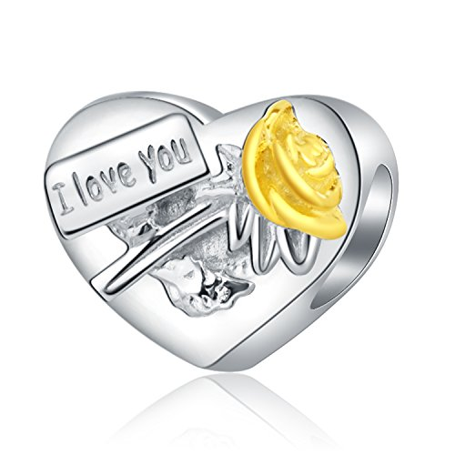 Amatolove Jewelry I Love You My Wife Idear Gifts from Husband 925 Sterling Silver Charms for Bracelets Anniversary Wedding Jewelry for Mothers Day Gold Plated Rose - Exclusive Gold Plated Silver Jewellery