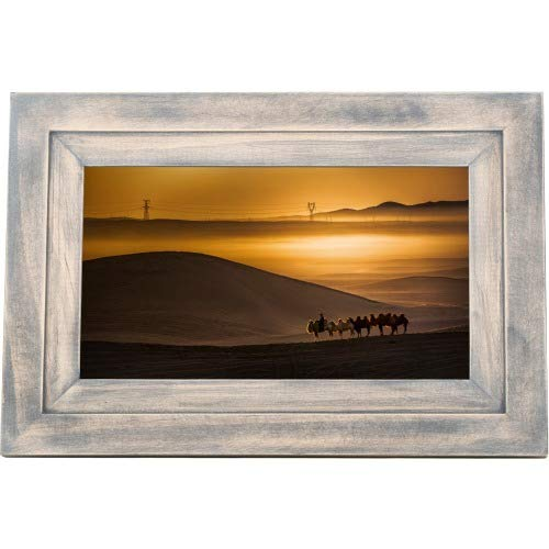 iDeaUSA iDeaPLAY Touchscreen Wi-Fi Photo Frame – 7″ Digital Frame – Driftwood – Wireless – Alarm, Calendar, Night Mode, Background Music, Slideshow – Built-in 8 GB – Built-in Music Player – USB –