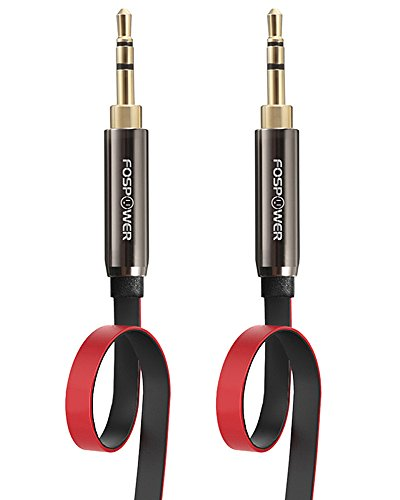 UPC 813154021995, FosPower [4ft] 3.5mm Male to 3.5mm Male [AUX] Stereo Audio Cable - 24K Gold Plated Flat Tangle-Free Auxiliary Cable for iPhone, iPod, Android Smartphones, Tablets, MP3 Players and More (Black / Red)