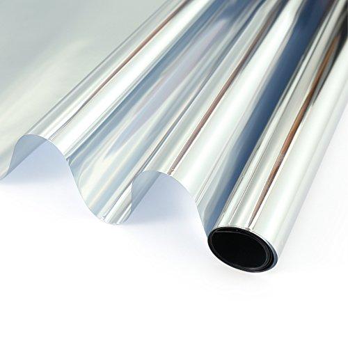 - Velimax One Way Privacy Mirror Film Static Non-Adhesive Window Film Solar Film Decorative Glass Tint Sticker Anti-UV Heat Control, Silver 23.6 x 78.7 inches(60CM by 200CM)