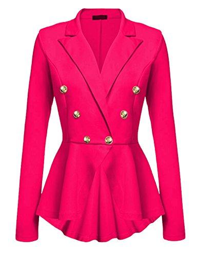 Frill Button (Cekaso Women's Peplum Blazer One Button Crop Frill Ruffle Hem High Low Work Blazer, Rose Red, USsize S=Tagsize M)