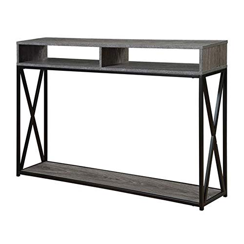 Convenience Concepts Tucson Deluxe 2-Tier Console Table, Weathered Gray/Black