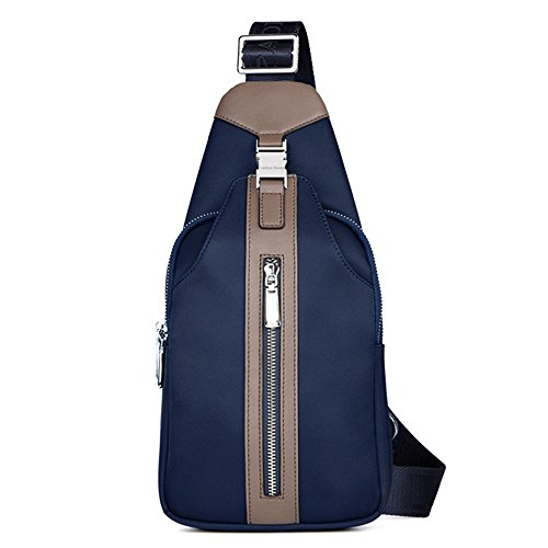 Luckyer Beauty Unisex lienzo de la Pecho Paquete Bolsa Sling Cross Body Bag Azul Azul