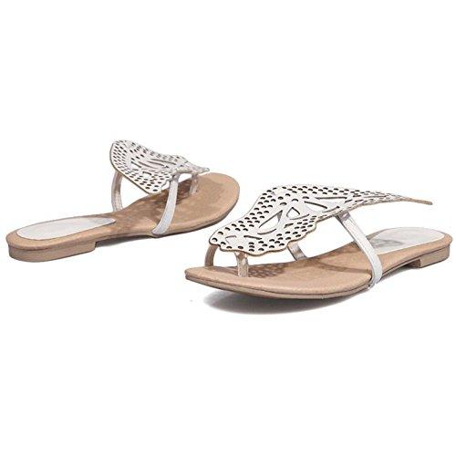 Clip Femmes silver Sandales Plates TAOFFEN Toe qtSwPwB