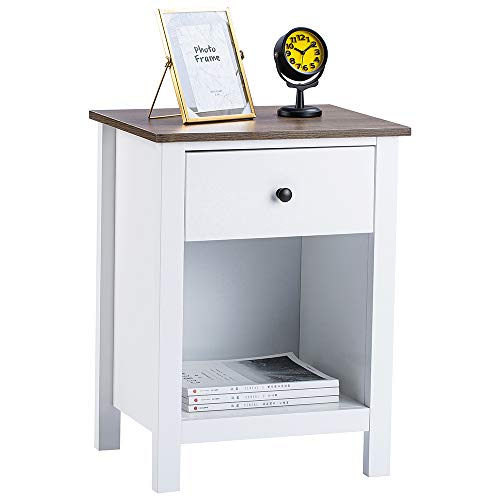 ChooChoo Nightstand Bedroom, Side Table with 1-Drawer Storage Cabinet, Wooden End Table Bedside Table, White