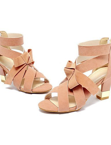 ShangYi Women's Shoes Fleece Chunky Heel Heels / Open Toe Sandals Office & Career / Dress / Casual Black / Pink / Gray Pink TLM8Zt