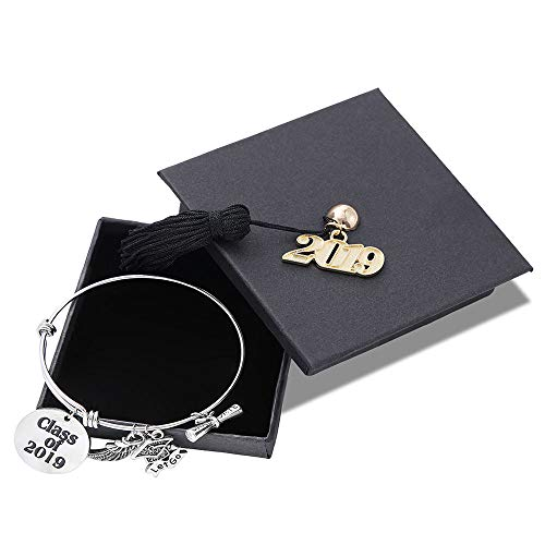 M MOOHAM 2019 Inspirational Graduation Gifts Bracelet - Graduation Gifts Friends Gifts Classmates Gifts Adjustable Charms Bracelet Keep Going Inspirational Bracelet with Graduation Cap for Her Him -